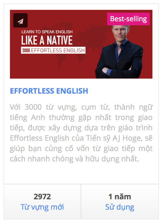 Học 3000 từ vựng, cụm từ, thành ngữ tiếng Anh của giáo trình Effortless English.